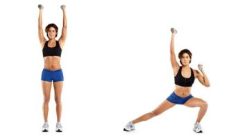 alternating side lunge with shoulder press
