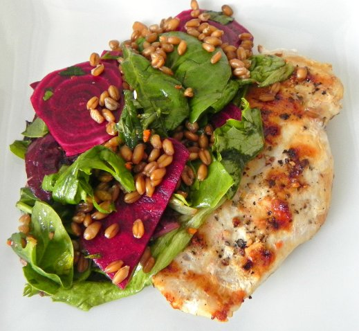 chicken with citrus beet wheat berry salad