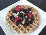 Fluffy Protein Waffles with Maple Berry Compote