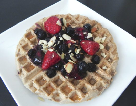 Protein Waffle with Berry Compote