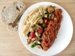 Roasted Vegetable Pasta with Meat Sauce