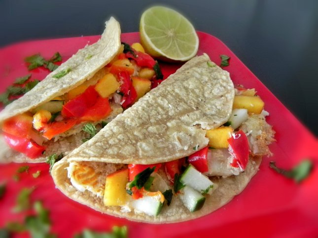 Coconut Lime Fish Tacos with Peach Avocado Salsa
