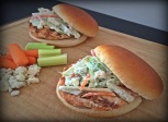 Buffalo Chicken Burgers with Blue Cheese Celery Slaw