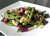 Roasted Green Beans with Beets and Walnuts